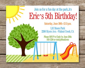 Park Birthday Invitation, Park Invitation, Park Party Invitation, Park Thank You, Playground Invitation, Picnic Invitation, PRINTABLE