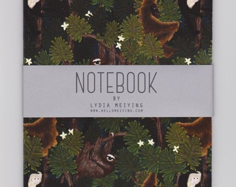 A5 Notebook - Monkeys and Sloths - with Plain or Lined Pages