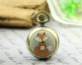 10% OFF SALE - 1pcs Personalized Handmade Antique Bronze / Silver Photo Pocket Watch Pendant / Charm (Fox) -- HWK501Y