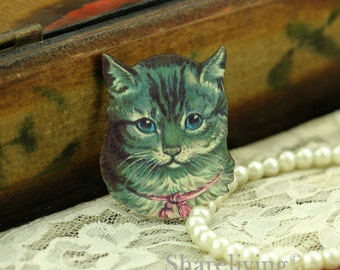 4pcs Wood Vintage Cat Charms, Wooden Cat Pendants HW012F