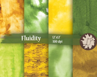 Garden Watercolor Papers, yellow, green, brown painted scrapbook backgrounds 12X12 backgrounds, instant download, scrapbooking