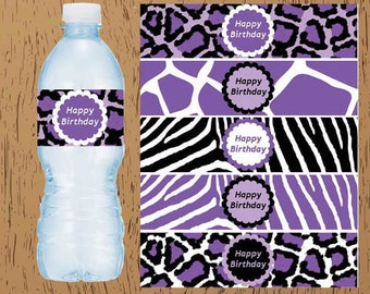 Purple Zebra Leopard Animal Print Party Birthday Digital Printable Water Bottle Labels