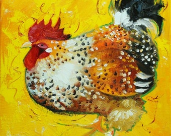 Rooster 801 12x12 inch animal portrait original oil painting by Roz
