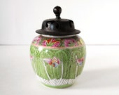 Vintage Ginger Jar Green Butterfly Flowers Asian China Vase Japan Pottery Ceramic Spice Jar Hh Hand Painted in Hong Kong Carved Wood Lid