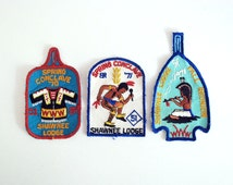 Boy Scout Patches, 1970s Embroidered Patch, American Indian Patch, Shawnee Lodge 51, Scouting Memorabilia, Camping Badges, Order of Arrow