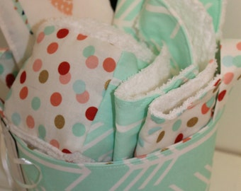 Mint Arrow Baby Gift Basket- Ready to ship--- Baby Shower Gift