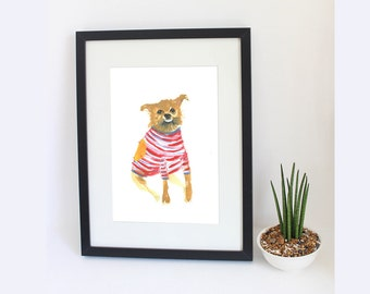 Pet Portrait. Funny, unusual original custom pet portrait painting. Wonky Pet Portrait.