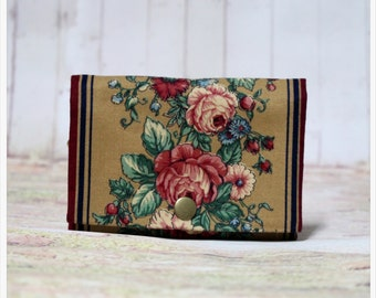 Brown And Flower - Coin Purse/Credit Card/ Zipper Pouch