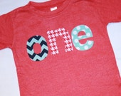 Boys Red White and Blue 1st Birthday ONE Shirt - 12-18 month short sleeve heather red - houndstooth navy chevron and aqua dots