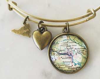 Richmond Virginia Map Charm Bracelet - Personalized Map Jewelry - Hometown Pride - Travel - Wanderlust