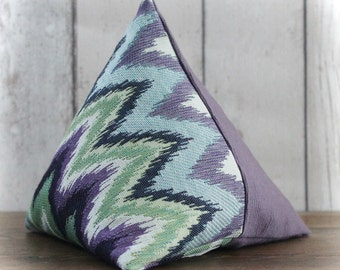 Purple, Blue and Green Zig Zag Print Triangular Pyramid Door Stop