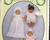 ON SALE Vintage Sewing Pattern Syndee's Crafts 12 inch Baby Doll Clothes Uncut  Complete