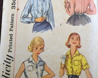 Vintage 1958 Sewing Pattern Simplicity 2470 Misses' Blouses Bust 33 Inches Complete