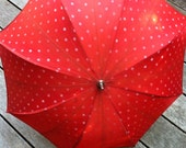 "vintage umbrella very cool old umbrella red polka dots  with wooden handle 23"" long"