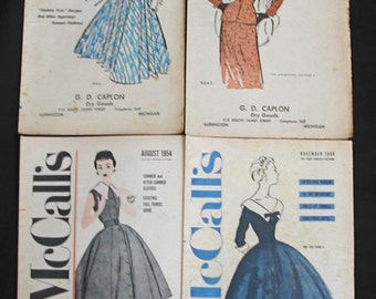 Original 1950s McCall's Style News Fashion Pattern Booklets 4 Dresses Clothes