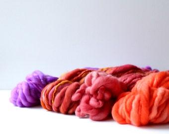 weaving creative yarn bundle, hand spun, hand dyed yarn, handspun art yarn, yarn set ... passion fruit