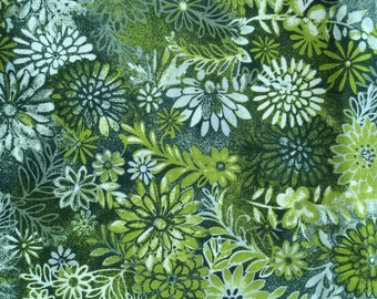 Floral Olive Green Fabric - 1 yard - more available