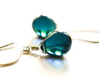 Rose gold earrings, rose gold jewelry, Navy blue glass earrings, blue earrings,glass drop earrings, blue stone earrings Paka Ua Plump Sea v2