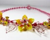 flower bib necklace macrame necklace handmade necklace pink yellow choker bib necklace statement necklace flower necklace bib necklace