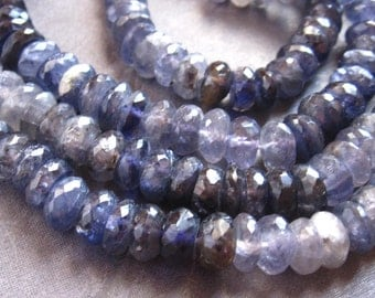 Iolite beads faceted stone semiprecious rondelles - 6 1/2 inches 8mm X 4mm