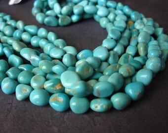 Kingman Turquoise beads nuggets - Kingman, Arizona - 7 1/2 inch strand natural turquoise stone