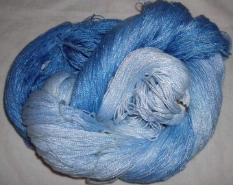 Hand dyed Tencel Yarn - 6/2 Tencel Lace Wt. Yarn  ICICLES - 630 yards