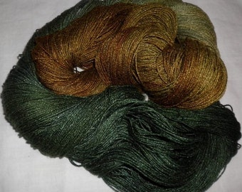 Hand Dyed 100% Bamboo Yarn - OLIVE OIL  - 630 yds