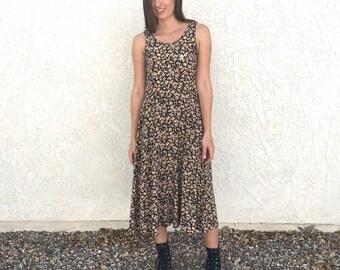 Vintage 80's Chorus Line Floral rayon dress