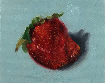 Strawberry Oil Painting on Blue Background