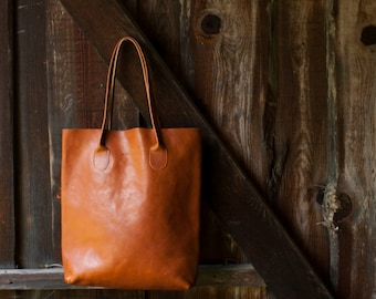 The Essential Tote in Cinnamon/ Leather Tote Bag / Leather Bag / Brown Tote Bag /Tote Bag / Brown Leather Tote / Cognac Leather Bag