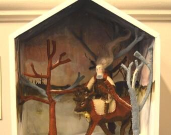 SALE Fairytale stories - Gerda and the Reindeer - Original Diorama  - ooak