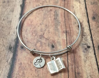 Book initial bangle - book bracelet, librarian bracelet, teacher jewelry, gift for librarian, book jewelry, silver book bangle