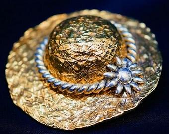 Golden Hat Brooch, Vintage Ladies Brooch, Vintage Shoulder Pin