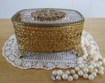 Vintage Trinket Jewelry Box glass and brass jewel box