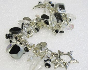 Bracelet Black White and Clear with Silver Accents