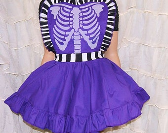 Glow in the Dark Ribcage Purple and Stripes Pinafore Apron Costume Skirt Adult ALL Sizes - MTCoffinz