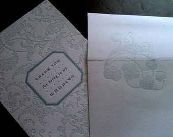 "Wedding party ""thank you"" card - Letterpress folding card"
