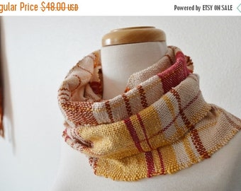 Sale Pumpkin Pie Spice Scarf - Hand Woven Random Stripe Plaid Colorblock Scarf in 100% Cotton - Wool Free, Vegan Friendly, Temperate Fall Fa