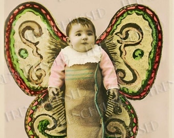 Butterfly Baby Antique French Collage Postcard Digital Scan