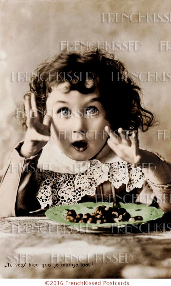 Chocolate Bonbons Victorian Child Rare Antique French Postcard Instant Digital Download