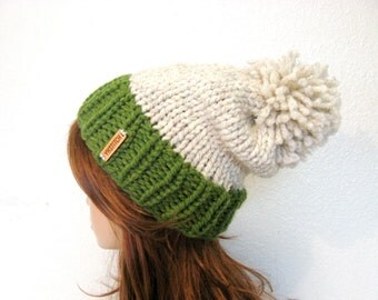 Slouchy Knit Hat with Pom Pom / VAIL / Grass and Wheat