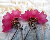 Deep pink earrings lily of the valley flower dangle earrings bridesmaid wedding Jewelry