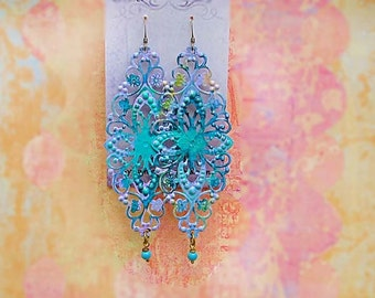 Long boho earrings lavender turquoise filigree Bohemian jewelry