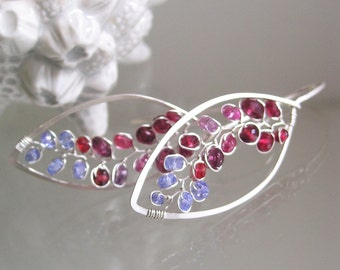 Red and Purple Sterling Silver Leaf Hoop Earrings with Garnet, Sapphire, and Tanzanite