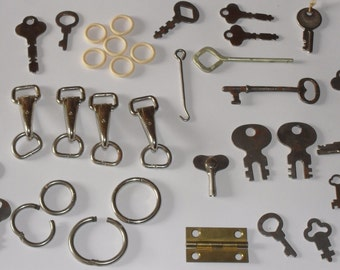 Vintage Junk Drawer Collection Old Keys,  Button Hook, Key Chain Rings, Clasps