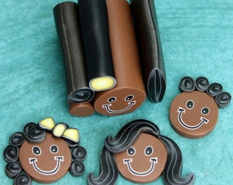 "Set of 5 Polymer Clay Canes -Simple Face and Black Hair, 1"" length -Skin tone B (10A)"