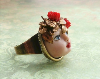 Red Flower Girl Face Ring