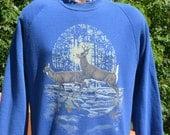 vintage 80s sweatshirt DEER raglan full moon nature animal Large XL 1990 jump hump wtf