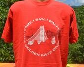 80s tee shirt vintage SAN FRANCISCO golden gate bridge california tourist t-shirt XL red