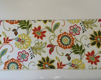 "Floral Window Valance/36"" WIDE x 20""/Kitchen/Bedroom/Bath/Topper/Straight-LINED-Valance, Richloom Fabric/Orange/Red/Yellow /Ready to Ship"